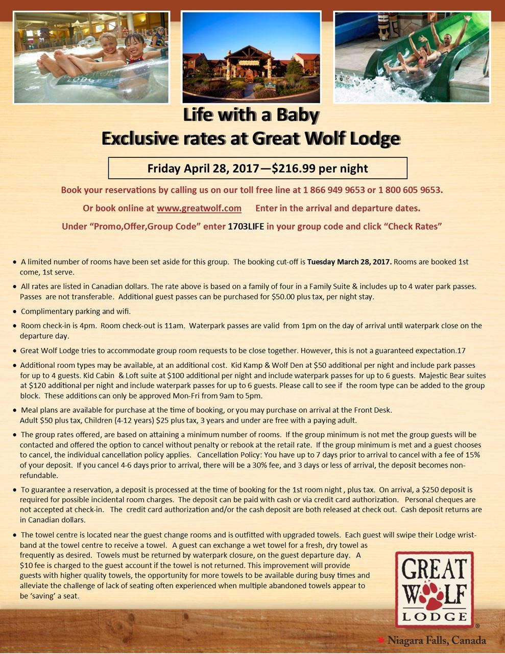 Life With A Baby - Great Wolf Lodge Group rate